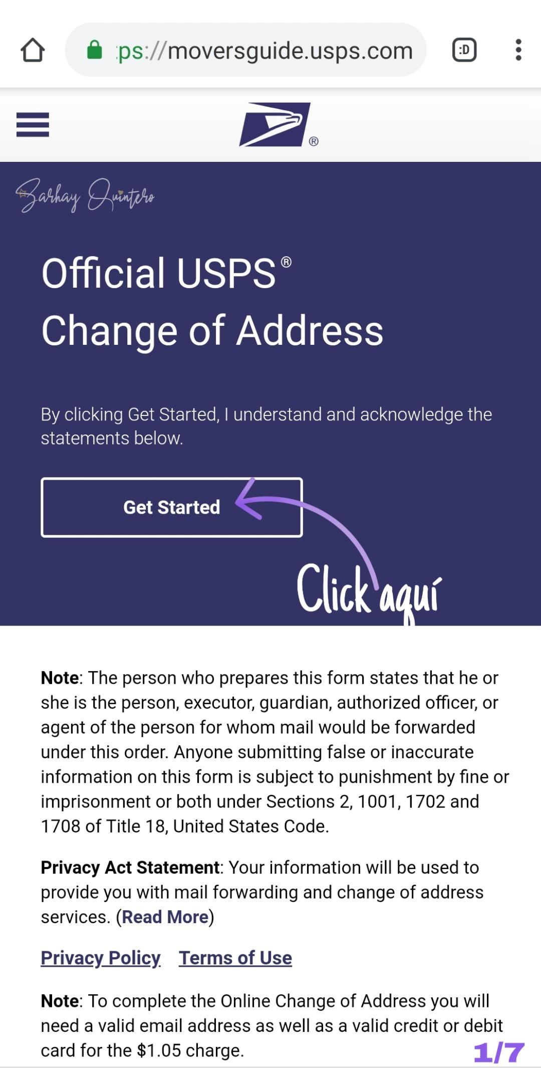 cambiar mi dirección en USPS